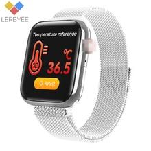 Lerbyee חכם שעון W58pro גוף טמפרטורת קצב לב צג Bluetooth כושר גשש שיחת תזכורת גברים נשים Smartwatch 2020