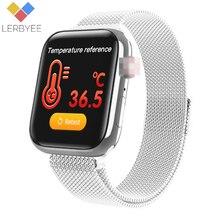 Lerbyee reloj inteligente W58pro, reloj inteligente deportivo con control del ritmo cardíaco y de la temperatura corporal, llamadas, recordatorios y Bluetooth de hombre y mujer 2020