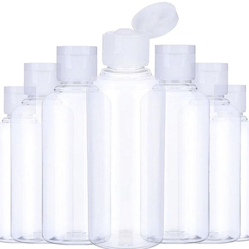 Пустой прозрачный пластиковый пакет, 50 шт., 10, 30, 50, 60, 100 мл, раскладная бутылка для воды, прозрачные упаковочные контейнеры с откидной крышкой
