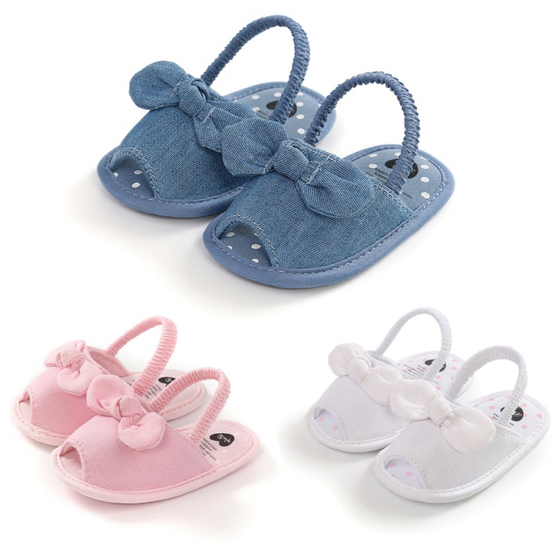 Baby Girls Sandals Shoes Fashion Newborn Bow Baby Girl Sandals Clogs Cotton Princess Sandals Baby Girl Shoes