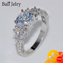 Bali Jelry lüks gümüş 925 yüzük yuvarlak zirkon taş güzel takı aksesuarları kadınlar için düğün parti süs toptan yüzük
