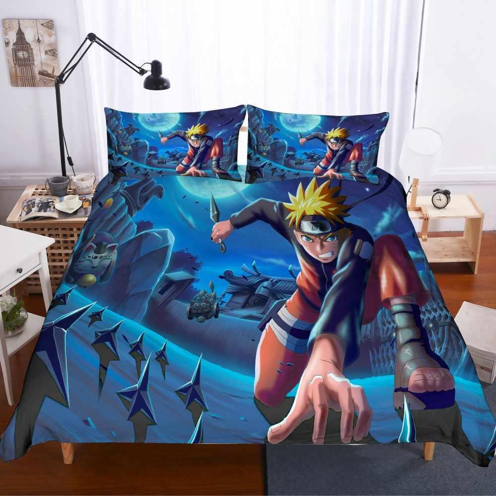 Dropshopping Anime pościel zestaw 2/3 sztuk jeden kawałek kreskówki dla dzieci z mikrofibry pełna kołdra pokrywa zestaw Naruto pościel zestaw poszewki na poduszkę