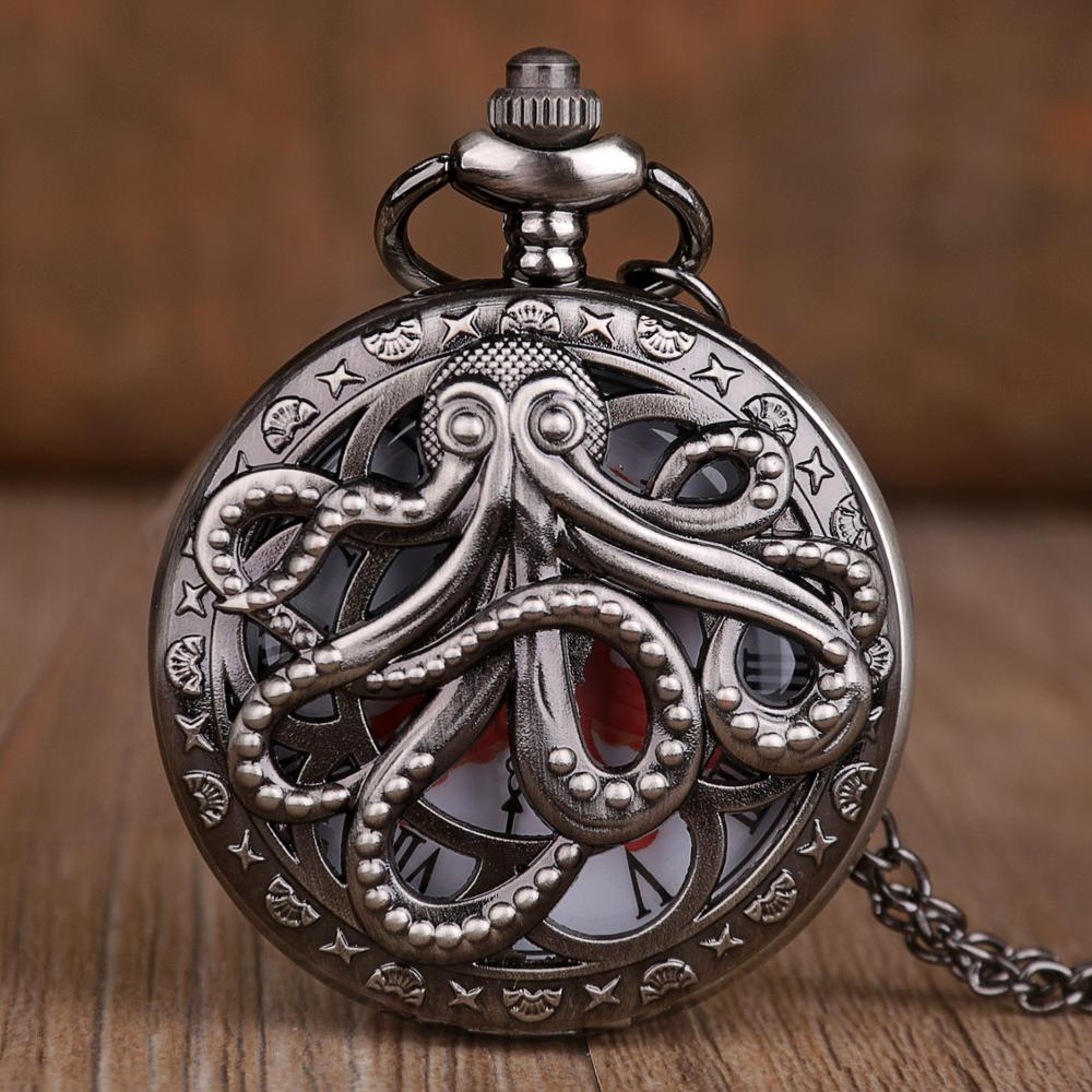 New Retro Antique Steampunk Pocket Watches Octopus Hollow Half Hunter Quartz Pocket Watch With Necklace Gift For Kids Men Women