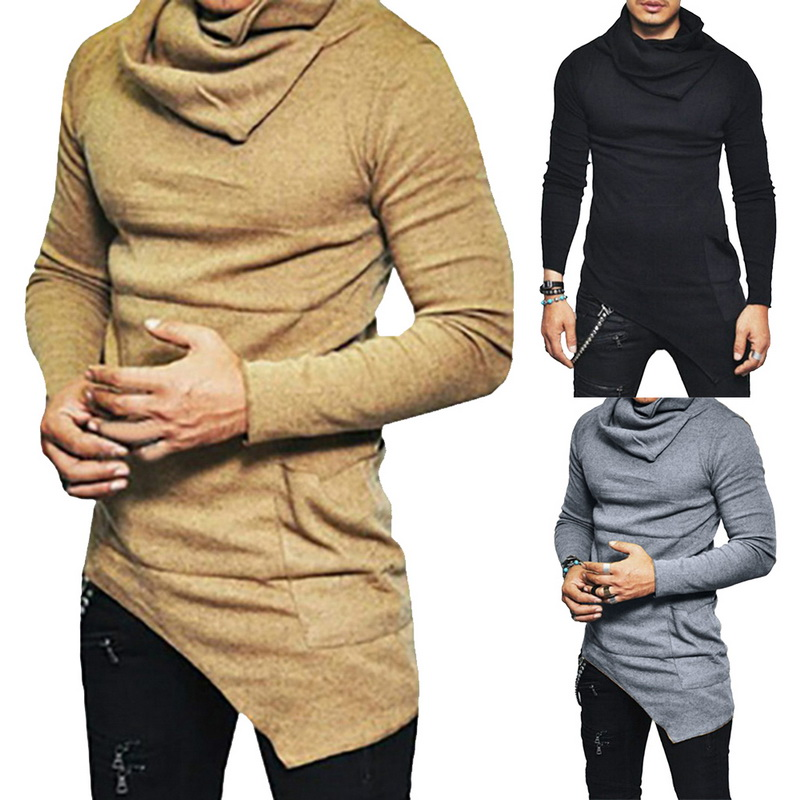 Fashion Casual Autumn Winter T-shirt Men's High-necked Long Sleeves Shirt New Solid Slim Irregular Tee Tops Turtleneck Pullover