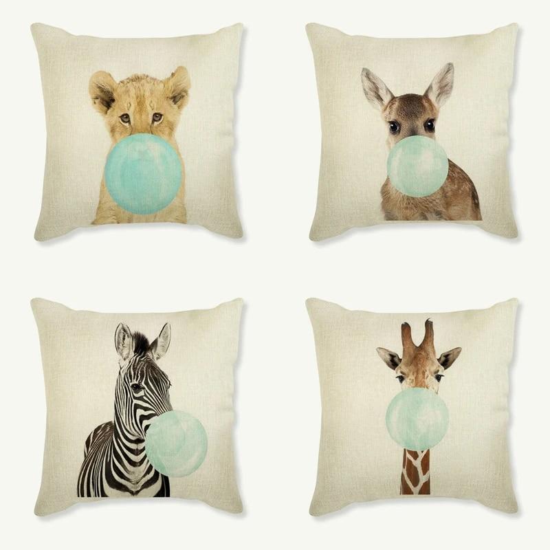 nordic cushion cover baby animal zebra girafe pillow case sofa cushion cover home decorative pillowcase car covers 45x45