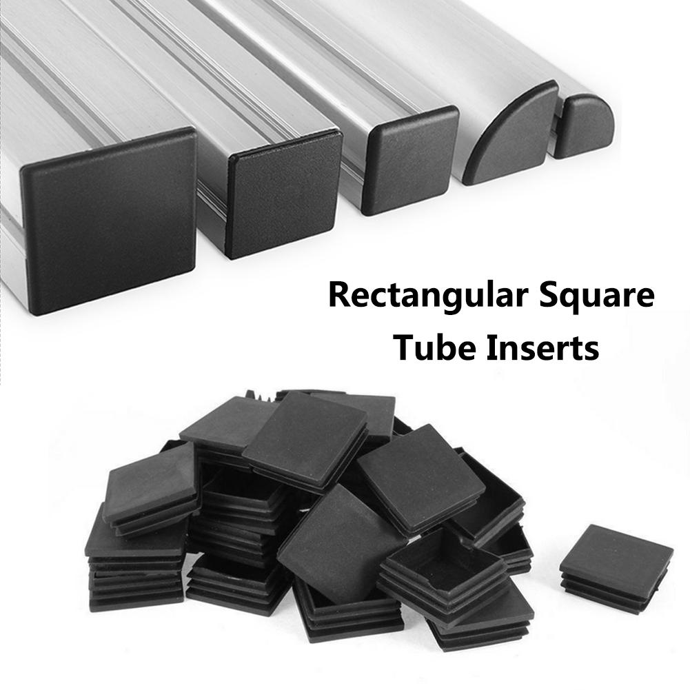 10/50 Pcs/lot 50x50/50x100 Mm New Black Plastic Blanking End Caps Square Inserts For Tube Pipe Box Section Wholesales