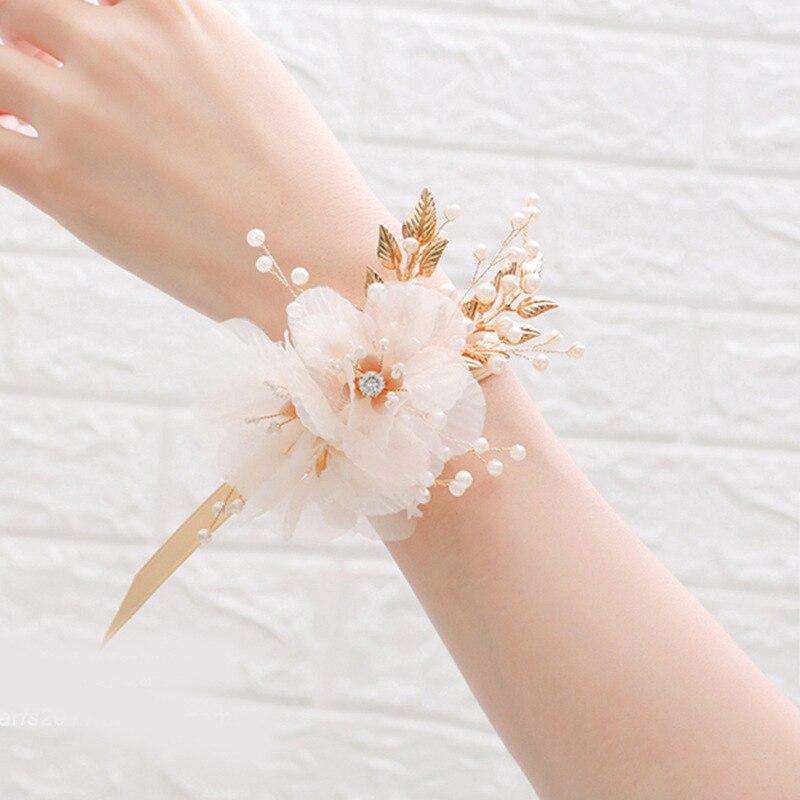 Imitação de pérolas de pulso flor de casamento pulseira de dama de honra de pulso flor de seda mão flores meninas acessórios de festa de casamento