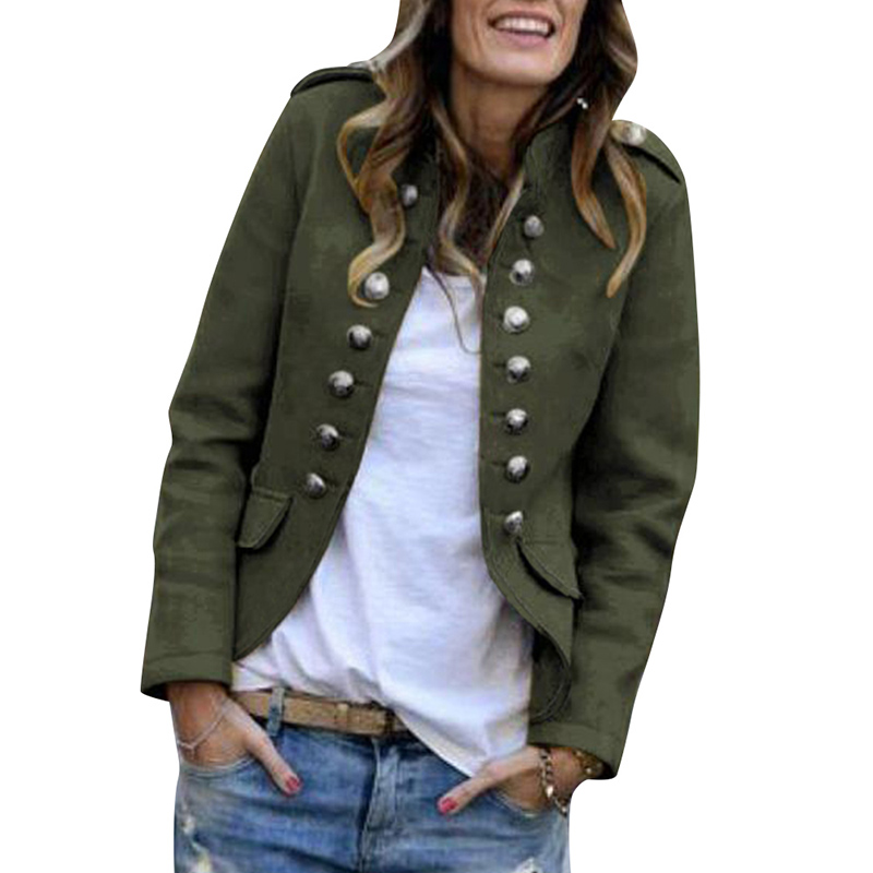 Fashion Solid Color Blazer Mujer Office Ladies Blazer Coat Women England Style Short Jacket Casual Button Blaser Feminino D25