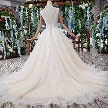BGW HT42115 Simple playa vestidos De boda cola barrida v cuello sin mangas A line Vestido De novia Princesa