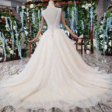 BGW HT42115 بسيط فساتين زفاف الشاطئ فرشاة ذيل v بلا أكمام a خط فستان الزفاف Mariage Vestido De Noiva Princesa