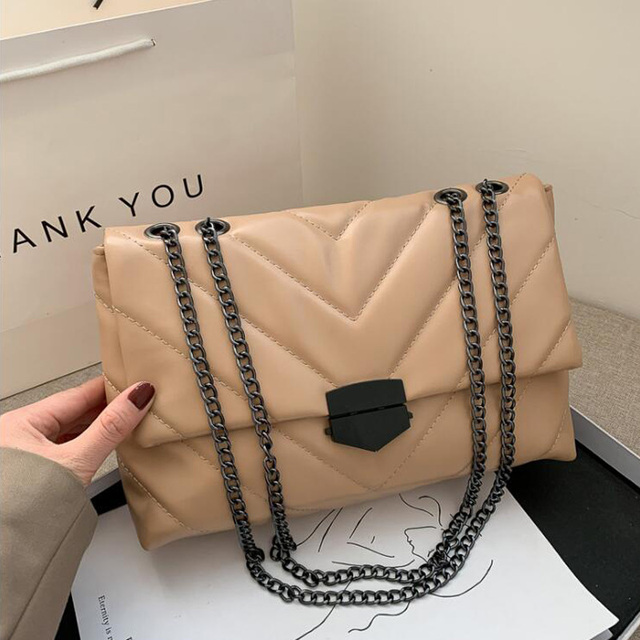 New Casual Designer Leather Crossbody Bags With Chain Strap For Women