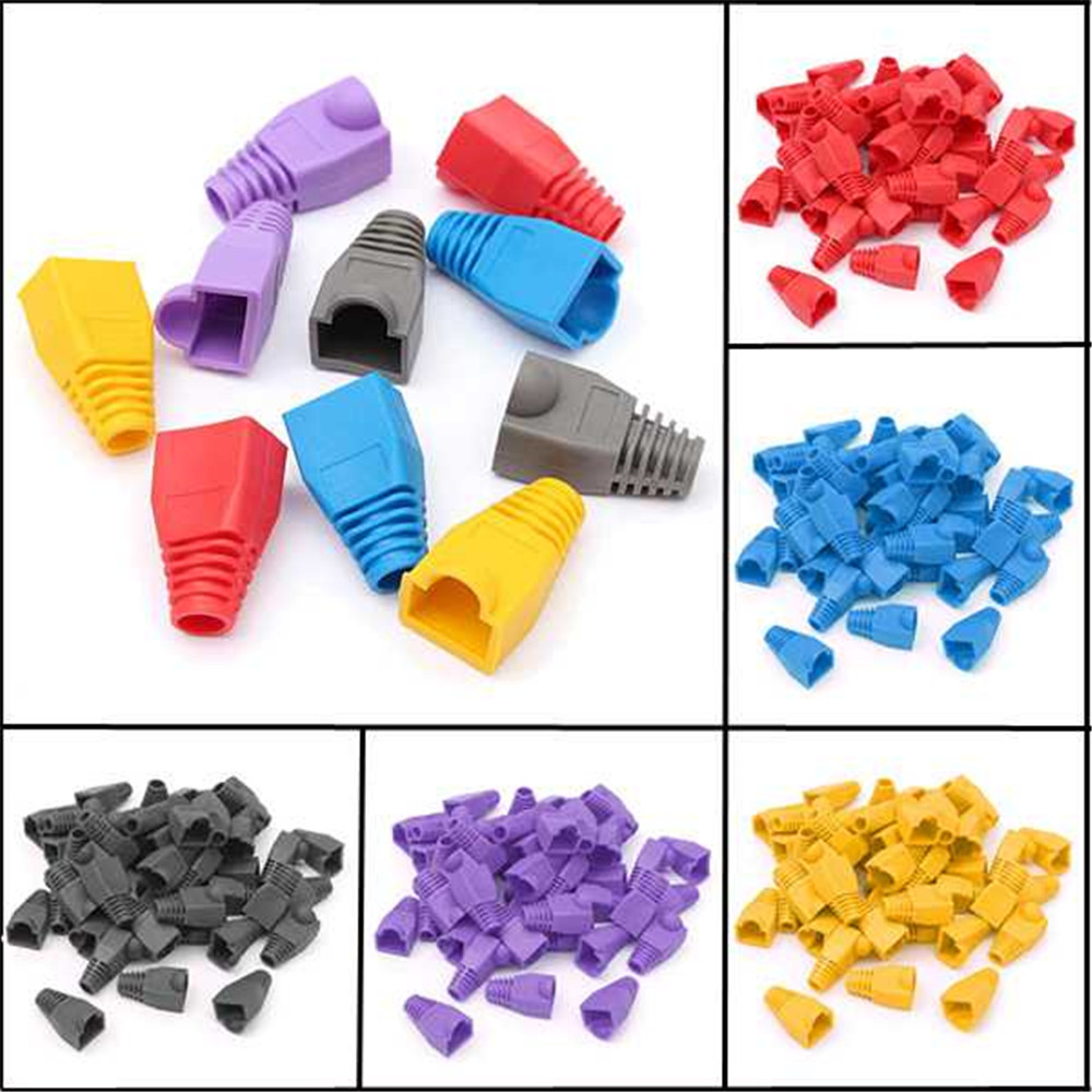50pcs Rubber Modular Connector Plug Protection Head Cover Guide Cap For RJ45 CAT5 / 6 New Products