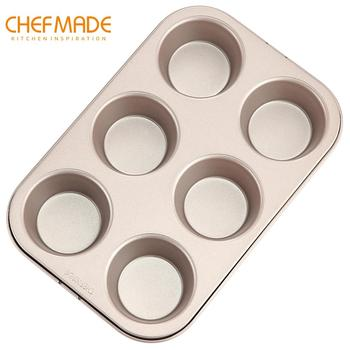 CHEFMADE Muffin Cake Mold, 6-Cavity Non-Stick Cupcake Bread Pan, FDA for Kitchen Oven Baking