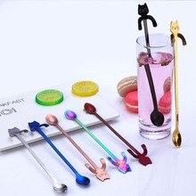 Кофейная ложка, креативная мини-ложка из нержавеющей стали 304 с мультяшным котом, длинная ручка, инструменты для питья кофе, ложка для мороже...