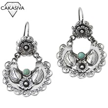 S925 Vintage Thai Silver Black Earrings Flower Heart Flowers Inlaid Turquoise Earrings Anniversary Birthday Gift Jewelry