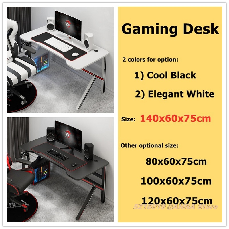 Professional Gaming Desk 140x60x75CM Cool Black Computer Table White Desktop Home Bedroom Table Matchable Chair Optional Hotsale