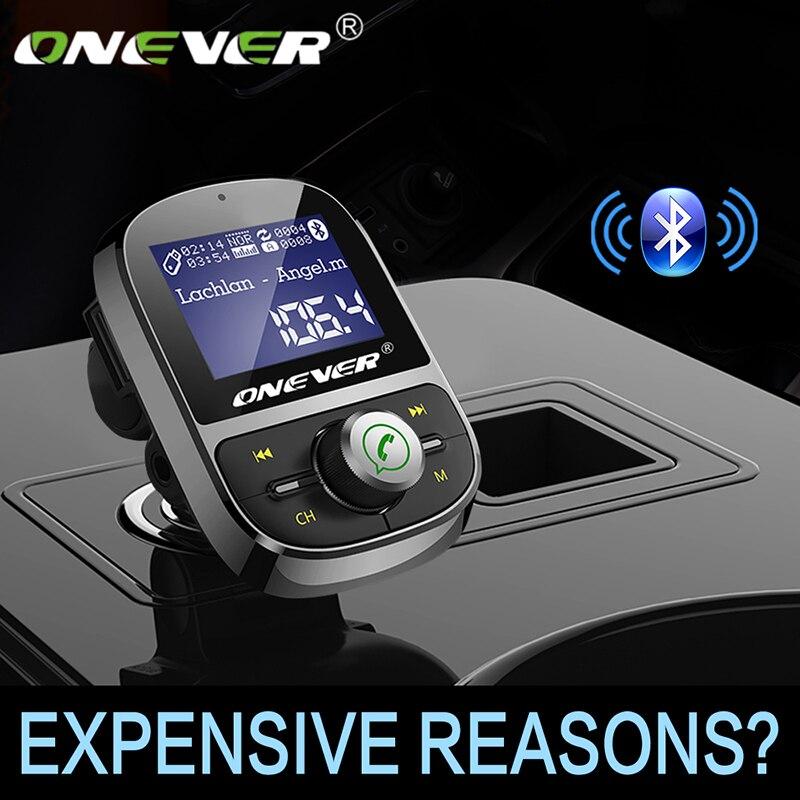 Onever fm transmissor sem fio bluetooth mãos-livres carro kit fm modulador de áudio carro mp3 player 3.1a usb carregador apoio tf cartão u