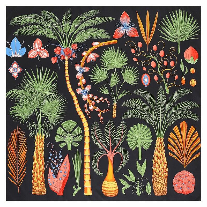 Luxury Brand Design Tree Printing Square Scarf Bandana 130*130cm Twill Silk Scarf Women Kerchief Scarves For Women Shawls Stoles