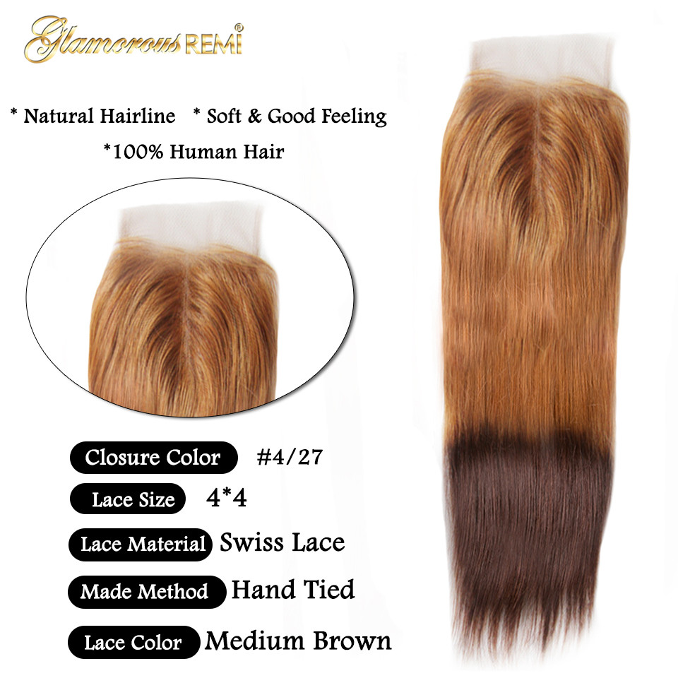 Image 5 - Glamorousremi Brazilian Straight Ombre Golden Brown T27/4 Human Hair Weave 3Bundles With Closure Long Remy Fumi Hair Extenions-in 3/4 Bundles with Closure from Hair Extensions & Wigs