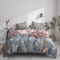 54 Grey Brown Birds Leaves Flowers Bedlinens Egyptian Cotton Bedding Set Queen King Size Flat sheet Duvet Cover Set
