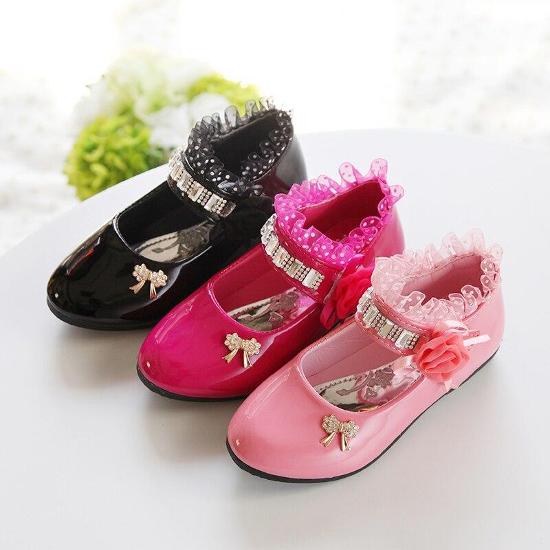 2020 New Children Elegant Princess PU Leather Sandals Kids Girls Wedding Dress Party Beaded Shoes For Girls 5