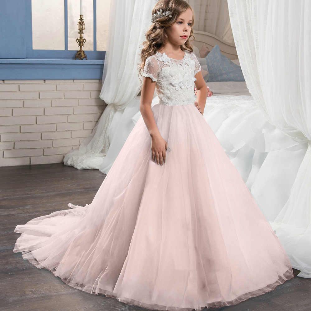 Phantasie Kinder Kleider Für Mädchen Teenager Brautjungfer Elegante  Prinzessin Hochzeit Spitze Kleid Vestido Party Formal Wear 12 12 12 12 jahre