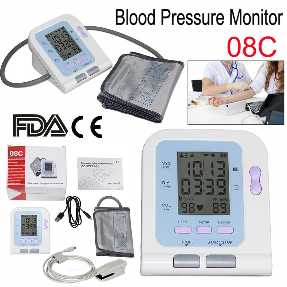 Digitale Blutdruck Monitor Oberen Arm Elektronische Blutdruckmessgerät NIBP Herzfrequenz Tester Maschine Erwachsene Manschette Sonde