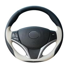 цена на Black Beige Leather Hand-stitched Car Steering Wheel Cover for Toyota Yaris Vios
