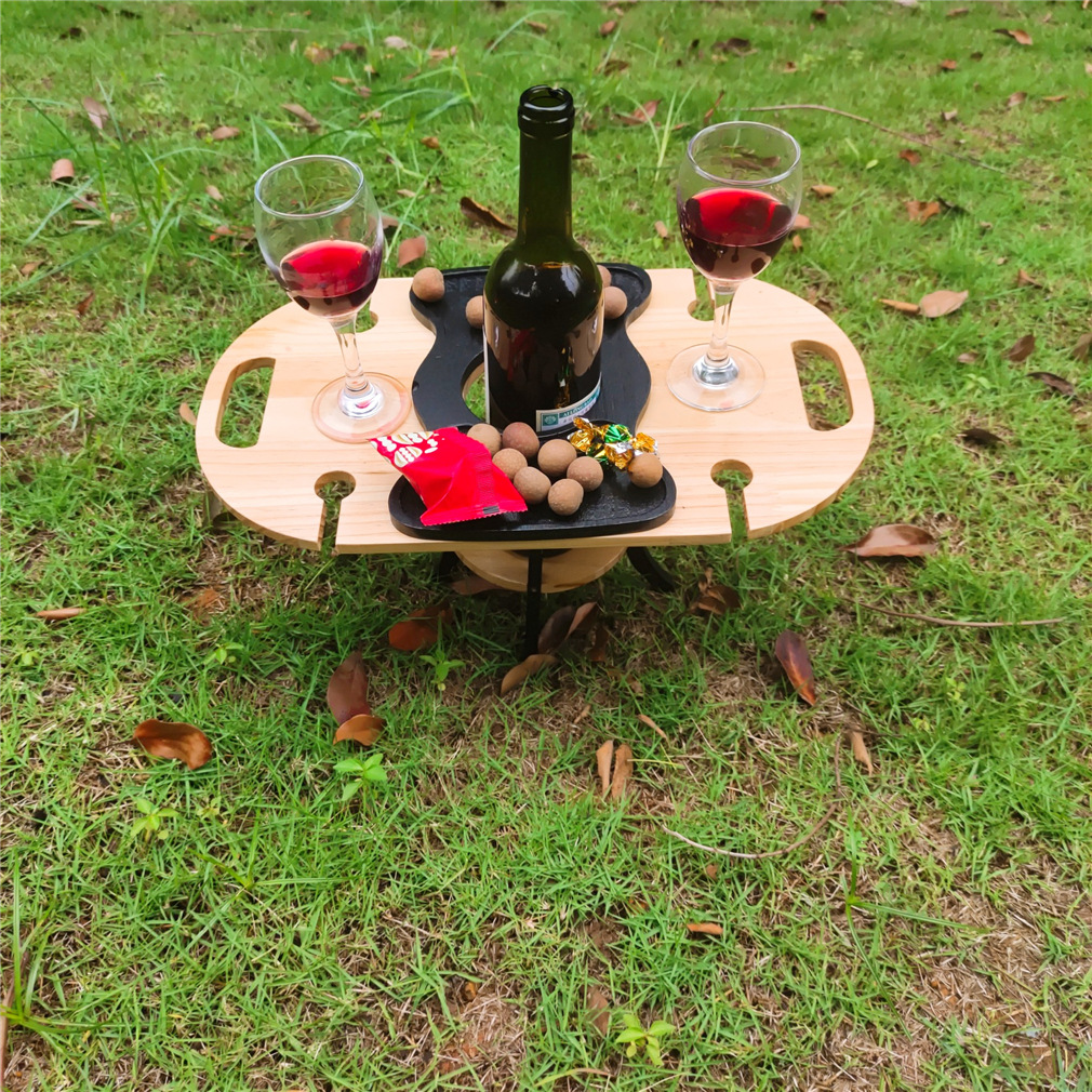 High Quality Wine Rack Holder Bamboo Wooden Outdoor Picnic Portable Folding With Glass Holder 2 In 1 Wine Glass Rack Wine Table