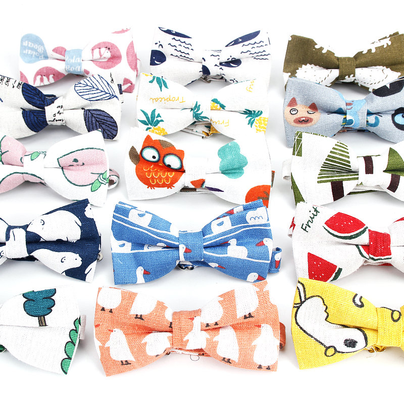 Men Animal Bowtie Casual Linen Cotton Bow Tie For Men Women Bowknot Adult Tree Print Cartoon Bow Ties Cravats Wedding Bowties