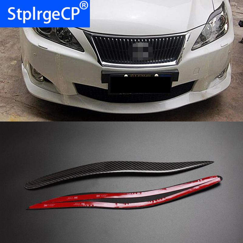 100% Rear Carbon Fiber Headlights Eyebrows Eyelids For Lexus IS IS250 IS300 IS350 Front Headlamp Eyebrows Trim Cover Accessories