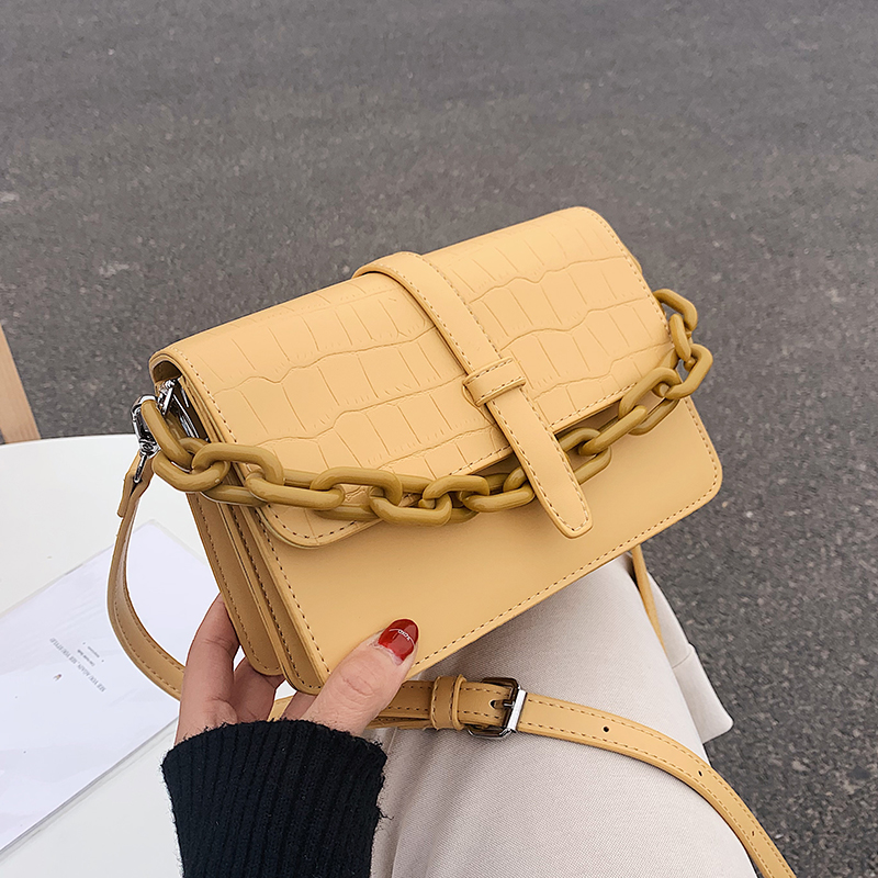 Stone Pattern Leather Crossbody Bag For Women 2020 Fashion Sac A Main Female Shoulder Bag Female Handbags And Purses With Chain