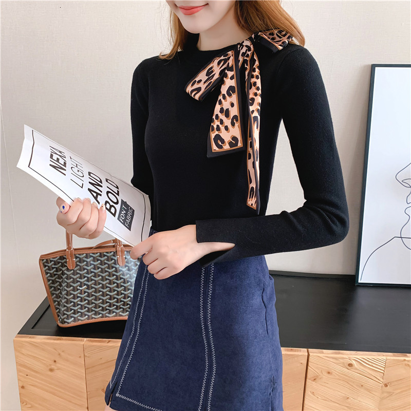 Women Knit Sweater Pullover Autumn Winter Clothes New Leopard Bow Tie Slim Pull Knitwear Sweater Jumper Long Sleeve Female Tops 8