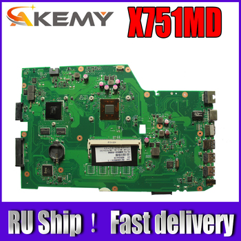 Akemy X751MD Laptop motherboard For Asus X751MD X751MJ  X751M K751M Test original mainboard  N3520 cpu 4 cores 2.167 GHZ t100taf motherboard for asus t100taf tablet mainboard t100taf motherboard test 100% ok z3735f cpu 64gb ssd