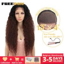 """Liberdade kinky encaracolado 30 """"longo ombre peruca dianteira do laço com cabelo do bebê natural linha fina resistente ao calor perucas de cabelo sintético para mulher"""