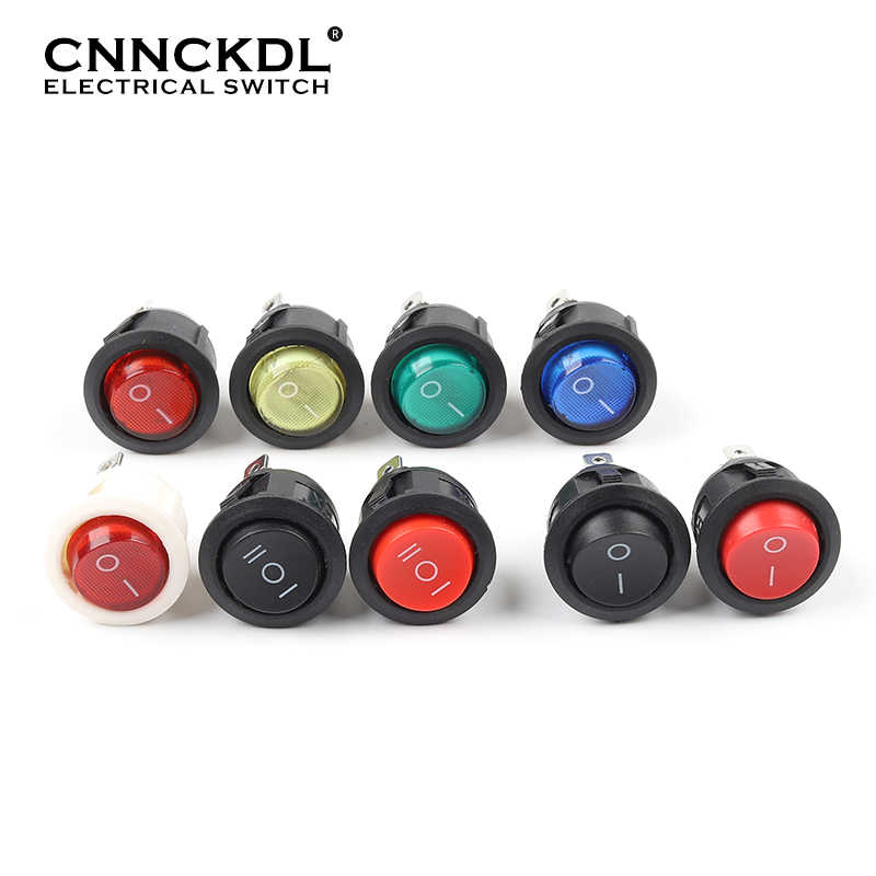 5 Pcs KCD1 23 Mm Round Rocker Switch 2/3Pin On-Off-On 2/3 Posisi 6A/250VAC 10A/125VAC SPST Mobil LED Push Button Switch dengan Lampu