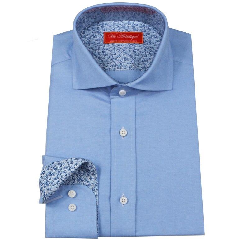 Custom Tailor Made Men's Bespoke Dress Shirts Business Formal Wedding Blouse Bespoke Blouse 100% Cotton Baby Blue Free Ship