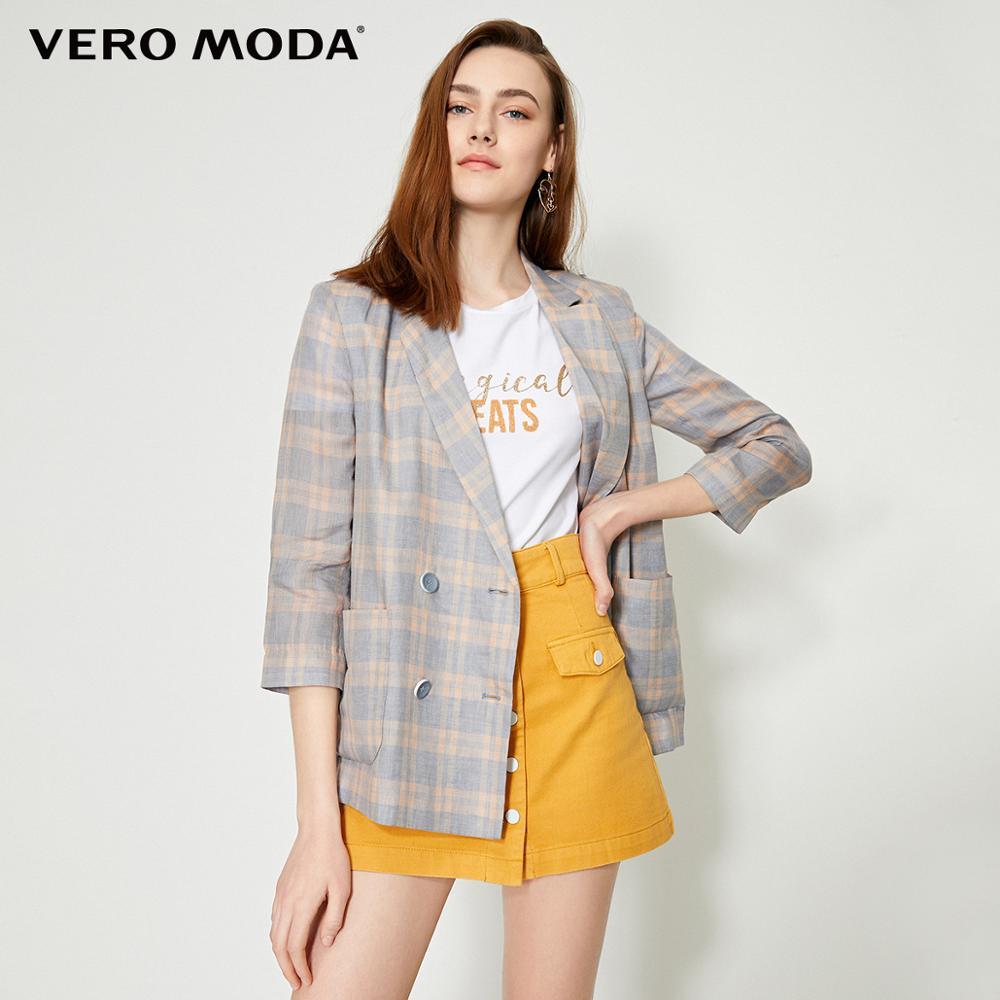 Vero Moda Women's 100% Linen Plaid Thin Blazer  | 319208534