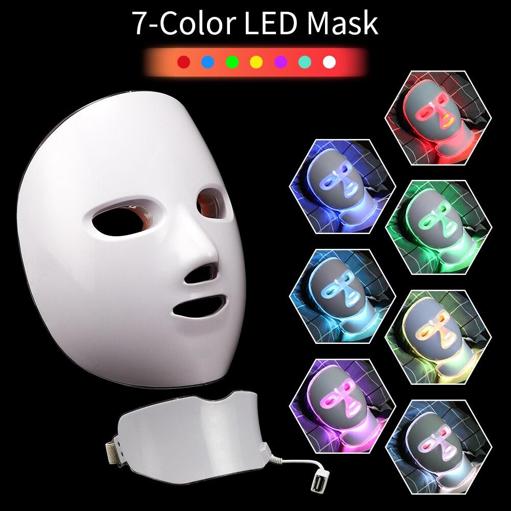 7 farben Licht Led Gesichts Maske Photon Therapie Gesicht Maske Schönheit Maschine Anti Akne Falten Bleaching Ort Entfernung Hautpflege werkzeuge
