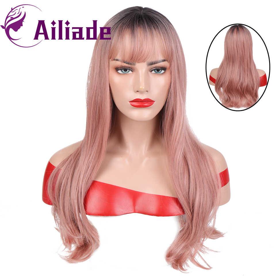 Ailiade longa reta ombre encaracolado marrom a rosa resistente ao calor ondulado perucas sintéticas 2 tom perucas com franja