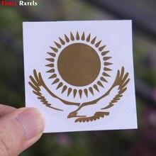 Três ratels MT 030 #49*55mm 1 2 peças a bandeira do cazaquistão metal ouro níquel etiqueta do carro auto adesivos