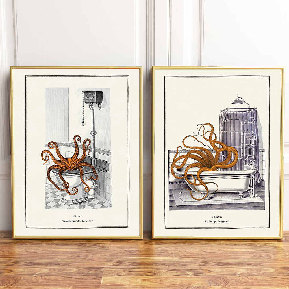 Surreal Octopus Vintage Gothic Steampunk Wall Funny Posters And Prints Octopus Canvas Painting Pictures Bathroom Wall Art Decor Painting Calligraphy Aliexpress