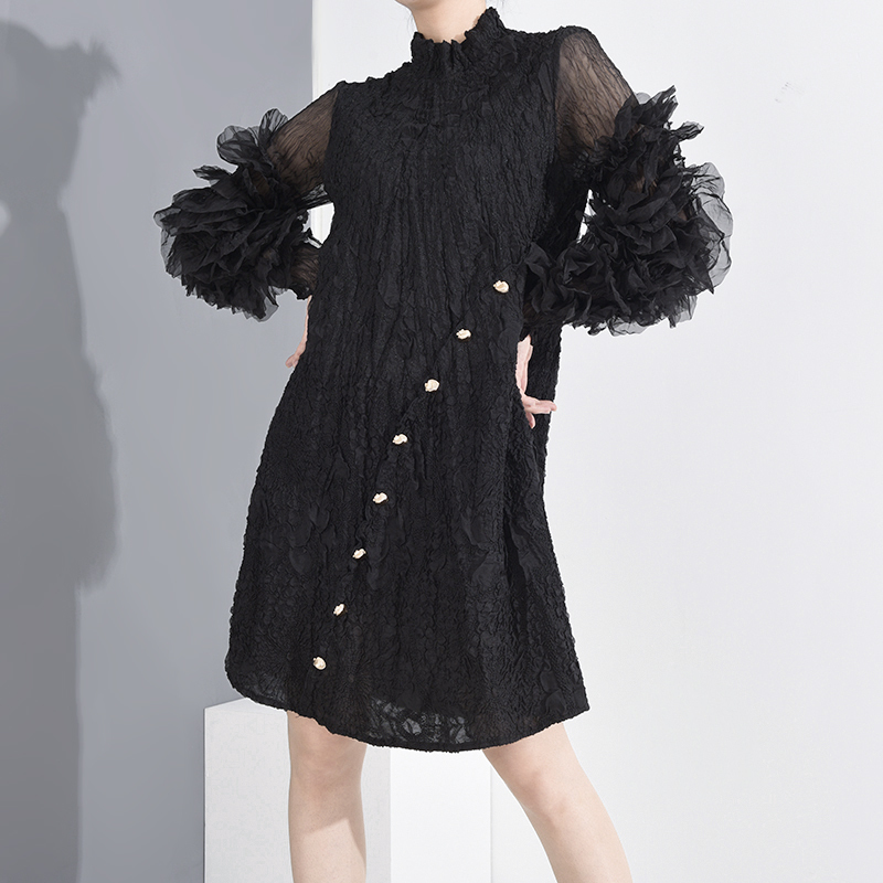 LANMREM 2020 sexy pleated dresses for women spring summer new stand collar puff long sleeve famale clothes high quality YH6880