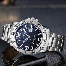 Kuzey en marka İzle erkekler lüks yeni spor moda rahat su geçirmez Meshi çelik kemer kuvars tarihi saatler Mens Relogio Masculino