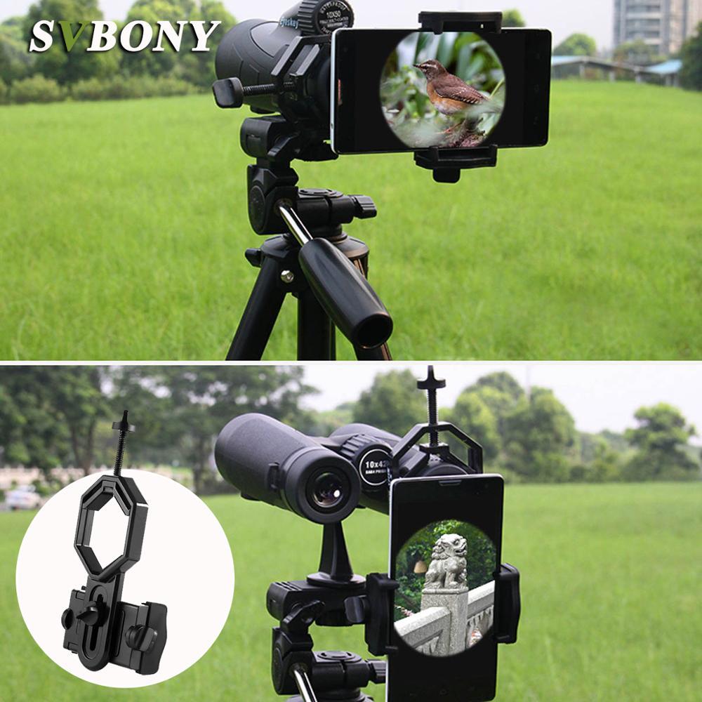 SvBony Universal Cell Phone Adapter Clip Mount Binocular Monocular Spotting Scope Telescope Phone Support Eyepiece D: 25-48mm W