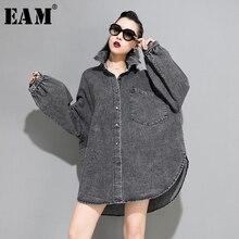 [EAM] coupe ample fendu grande taille surdimensionné Denim veste nouveau revers à manches longues femmes manteau mode marée automne hiver 2019 1A318