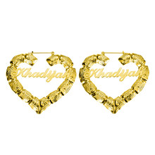 AILIN Custom Name Earrings For Women Customize Initial Nameplate Earring Bamboo Style Personalized Heart