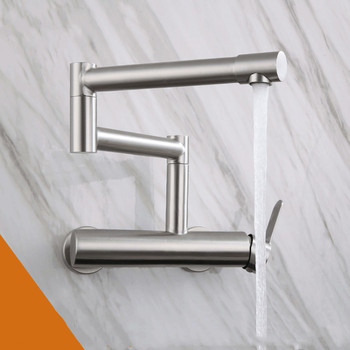304 Stainless Steel 360 Degree Wall-mounted Double Hole Folding Rotatable Sink Sink Hot and Cold Faucet Kitchen Mixer Tap stainless steel wall mounted kitchen faucet wall kitchen mixers kitchen sink tap 360 degree swivel flexible hose double holes