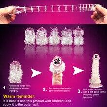 5 Pcs Men's Penis Lengthen Delay Silicone Set Crystal Penis Condoms Finger Cock Ring Adult Sex Toy For Sex Male Longer Lasting