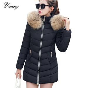 Image 1 - 2019 Winter Women Down Jackets Warm Parka Inflatable Coats With Fur Collar Hooded Female Winter Clothes Fashion Thick Outwear